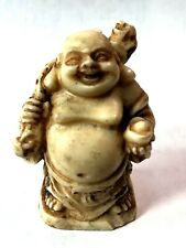"Vintage Ivory Buddha Figure Miniature 1 3/4"" Tall, Good conditions"