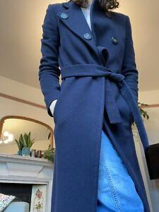 Jigsaw 100% Cashmere Long Navy Blue Coat