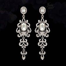 Rhodium Plated Clear Crystal Rhinestone Chandelier Drop Dangle Earrings 06742