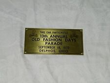1970 Old Fashioned Days Delphos Ohio Car PlaqueOH 18354