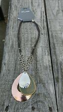 Carol Dauplaise rustic hammered metal pendant necklace, new w/tags (E)