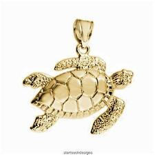 New 14k Yellow Gold Sea Turtle Pendant