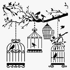 BIRDS CAGE STENCIL BIRD CAGES TREE BRANCH STENCILS LEAF TEMPLATES CRAFT BY TCW