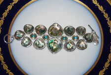 JONES NEW YORK LARGE BOLD CHUNKY RUNWAY GREEN ABALONE SILVER TONE METAL BRACELET