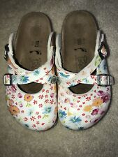 Birkis Birkenstock HAITI MAGIC FLOWER size 180 Buckle CLOGS Sandals Girls 10 HTF