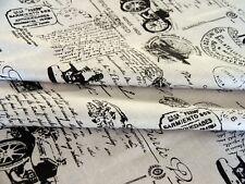 Stoffreste Dekostoff Meterware Nähen DIY Stoff Baumwolle  grau schwarz Vintage