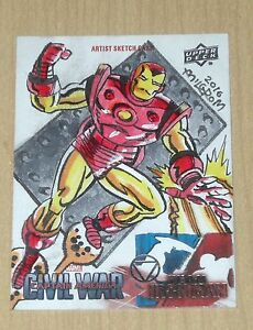 2016 UD Marvel Captain America Civil War sketch card Al Milgrom IRON MAN 1/1