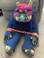 AmToy My Pet Monster 1986 24 Inch Plush Blue Stuffed Animal Toy Doll W/ Cuffs