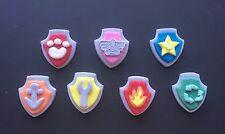 Edible Paw Patrol sheild badges Cupcake Toppers X 7 Fondant 4.5cms Dog Puppy