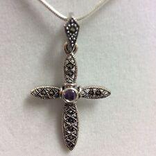 Sterling Silver SIGNED ART DECO Marcasite Purple CZ Cross Pendant slide H