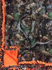RealTree Camo/Hunting Orange Handmade Fleece Tie BLANKET feat Deer | LARGE 55x65