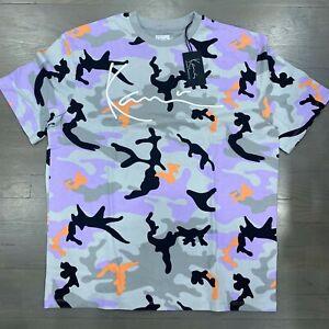 New Karl Kani Gray Purple Camo Script Logo Retro Short Sleeve T-Shirt Men