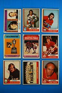 1974-75 OPC classic Lot(27) Orr, Gilbert, Shutt, Team Cards & Team Leaders, etc.