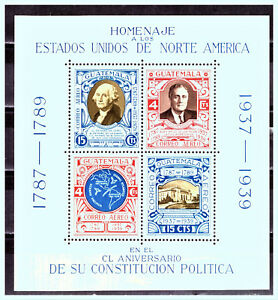 """GUATEMALA: 1939  Sc: GT-C92 """"150th Anniversary of USA Constitution"""" MNH Sheet"""