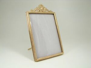 French Ormolu Bronze Poppies Foliage & Beads Picture Frame
