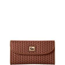 Dooney & Bourke Chestnut Brown Leather Camden Woven Continental Clutch Wallet