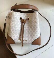 Michael Kors 100% Mercer Gallery Bucket Shoulder Bag MK Logo Vanilla Brown NEW