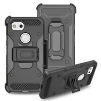 Rugged Hybrid Hard Holster Case Stand Clip Phone Cover For Google Pixel 2 XL