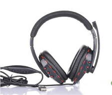 Leather USB Wired Stereo Micphone Headphone Mic Headset for Sony PS3 PC Game TM