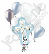 7pc Cross Blue Boy Balloon Bouquet Religious Ceremony Baptism Communion Blessing