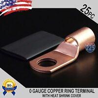 "25 PCS 1/0 AWG 0GA Copper Ring Terminal w/Heat Shrink Tube 1/2"" Hole Lug Bare US"