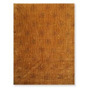 9' x 12' Hand Knotted Designer Wool & Silk Tibetan Oriental Area Rug 9x12 Gold