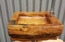 Waschtisch aus Eichenholz Holzwaschtisch Eiche Waschbecken Badmöbel Eichenstamm