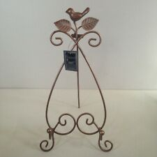 New! Metal Bronze Bird Easel Photo Display Rod Iron 16 in Tall Decorative Leaves
