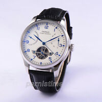 43mm Parnis Power Reserve Automatic Movement Men Boy Watch White Dial Blue Mark