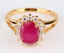 Women's 24k Gold Filled Oval Ruby Ring - Size 8.75