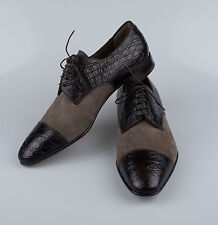 New BRIONI Brown Suede Leather W/ Crocodile Leather Toe Oxfords Dress Shoes 9/42
