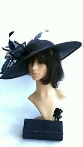 Navy Blue Hatinator.Large Sinamay Statement for Wedding.races...bag seperate buy