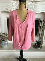 Sz M J.Jill Purejill Womens Rose Pink Cotton Cross-Front Top 3/4 Sleeves EUC