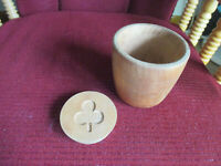 "Antique Vintage Wooden Butter Cheese Mold Press Carved Shamrock Design 4"" tall"