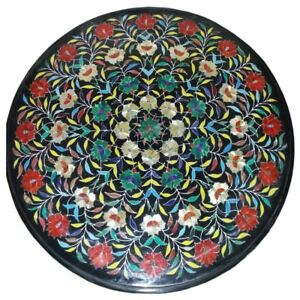 """24"""" round Marble Table Top Precious stones Inlay handcrafted marquetry art Work"""