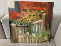 Vintage Impressionist Style Oil on Canvas Painting of Fence & Plant Foliage