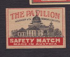 Ancienne  étiquette allumettes Autriche BN122187 The Pavillon Bombay & Calcutta