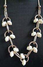 One Ivory White Large Chunky Acrylic Bead Light Goldtone Link Statement Necklace