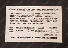 Holden HSV VS Calais XU6 V6 L67 Supercharged Motor - Emission Decal Sticker