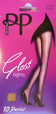 Pretty Polly Small to Medium Size Glossy 10 Denier Tights in Black or Nude shade