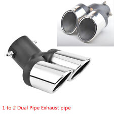 63mm Car Chrome Black Stainless Steel 1 to 2 Dual Pipe Muffler Exhaust Pipe Tip