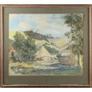 Framed Original Pastel Sketch Drawing South African Nguni Beehive Houses Village