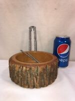 Vintage Small Pine Wood Nut Bowl and Cracker with 2 picks Mid-Century Christmas
