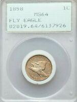 1858 Flying Eagle Cent Penny PCGS MS64 - Old Green Rattler Holder OGH UPGRADE!