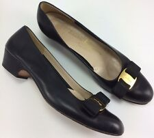 SH5 Salvatore Ferragamo 8 AAA Vara Black Leather Bow Block Heel Made In Italy