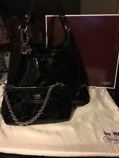 EUC COACH MADISON MAGGIE BLACK PATENT LEATHER TOTE SHOULDER Bag W/MATCHING WALLE