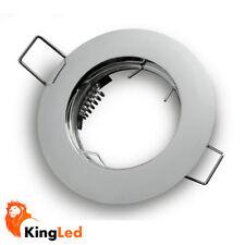Soporte foco empotrable redondo 77mm para agujero 60mm fijo Plateado Cromado