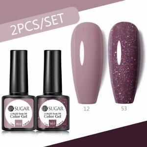 2Pcs/set UR SUGAR Nail Gel Polish set Soak off UV LED Base Top Coat Nail Varnish