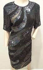 VTG Sequin Heavily Beaded Navy Black Silver Galaxy Space Silk Trophy Dress 8