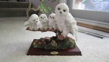 MONTEFIORI COLLECTION STATUE MOTHER OWL WITH 3 OWLET FAMILY SCULPTURE FIGURINE